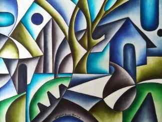 Title Moonlight. Artist Nuwa Wamala Nnyanzi. Medium Batik. Code NWN0012014
