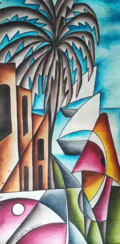 Title The Oceanic Queen. Artist Nuwa Wamala Nnyanzi. Medium Batik. Code NWN0232011