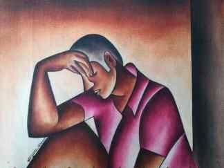 Title Time To Reflect. Artist Nuwa Wamala Nnyanzi. Medium Batik. Code NWN0332011
