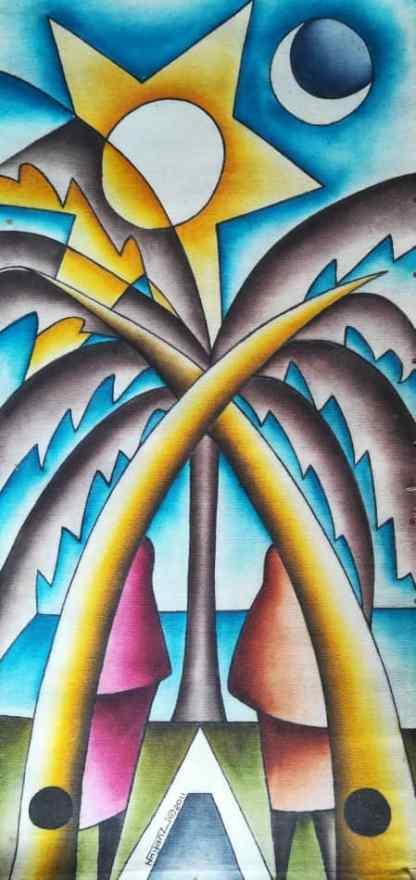Title Two At The Beach. Artist Nuwa Wamala Nnyanzi. Medium Batik. Code NWN0312011