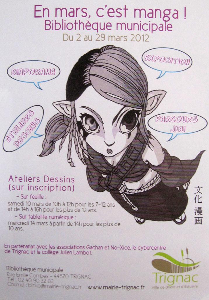 Atelier de dessin manga à Trignac, bibliothèque municipale en 2012, par le fanzine No-Xice©