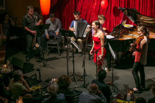 Members of the Chamber Music Northwest Protégé Project at Jimmy Mak's. Photo: Jonathan Lange.