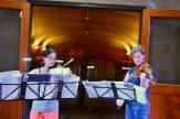 Megumi Stohs Lewis and Sasha Callahan rehearsing Prokofiev's Sonata for Two Violins. Photo: Stephanie Noble