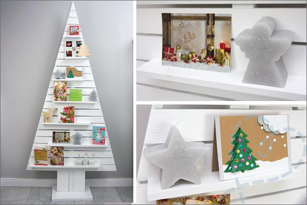 houten kerstboom met kaartjes