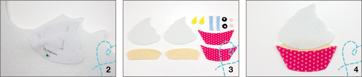 vilten cupcake knutselen