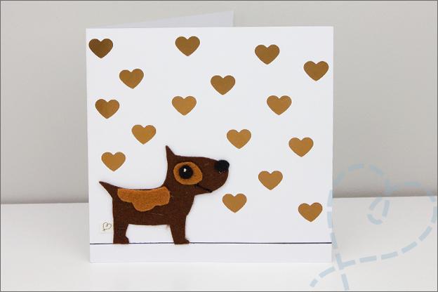 zelfgemaakte verjaardagkaart vilten hond
