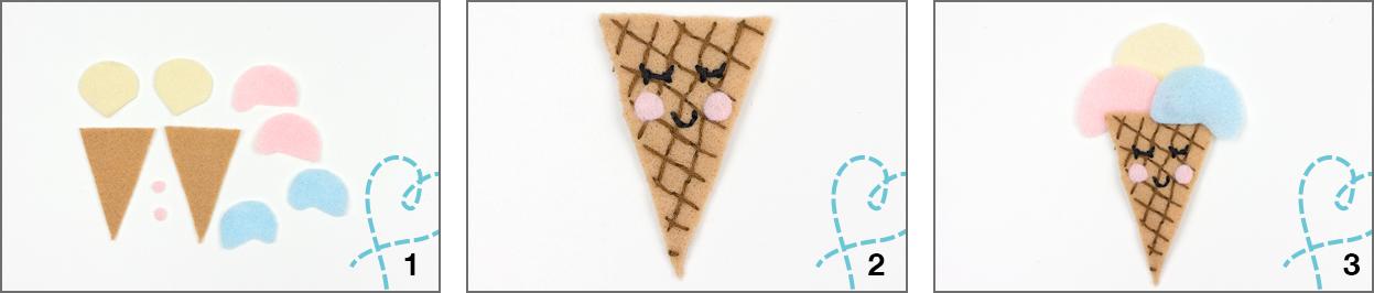ijsje van vilt hoorntje