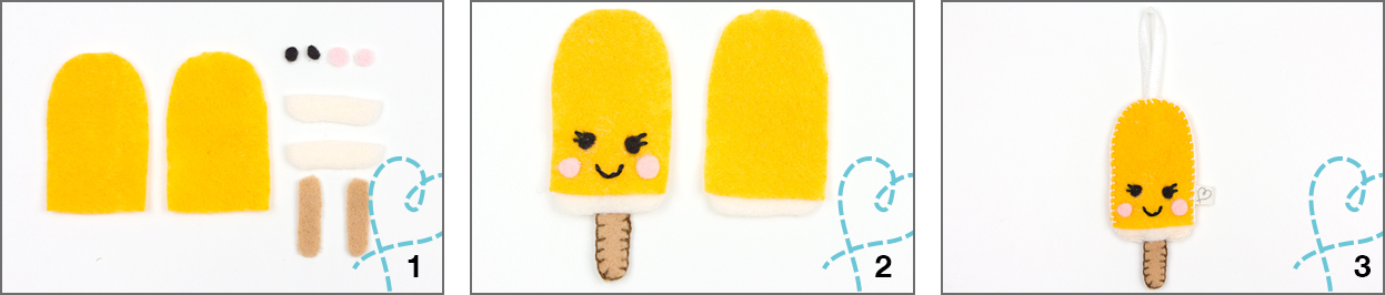 split ijsje knutselen van vilt