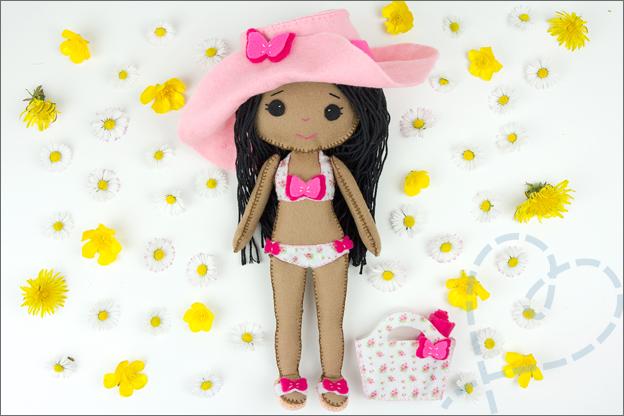 beach babe my felt doll pop van vilt voorbeeld