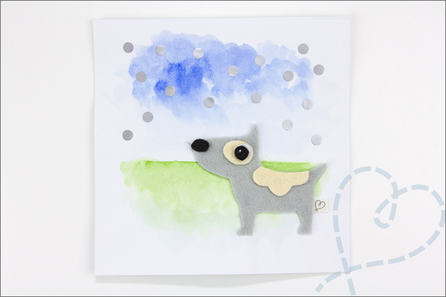 kaartje zelf maken met hond van vilt