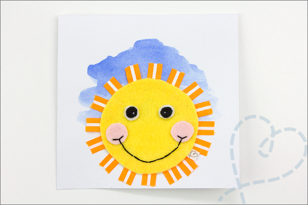 postkaart met zon en vilt