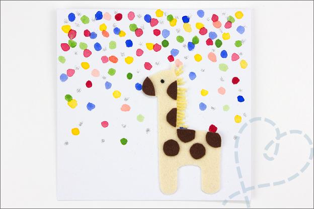 kaart met giraffe van vilt