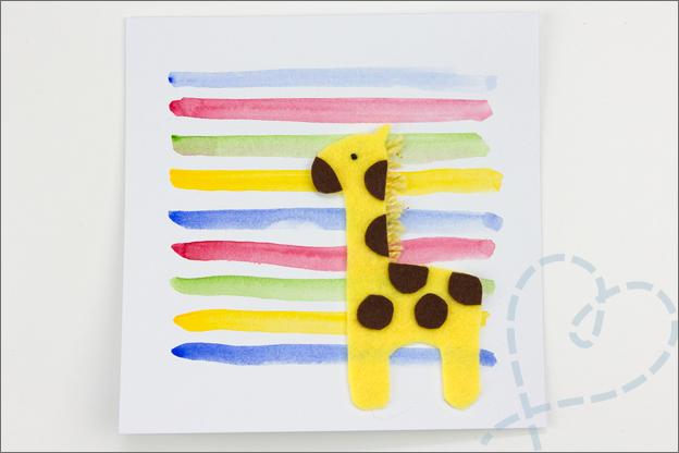 zelf gemaakte kaart met giraffe