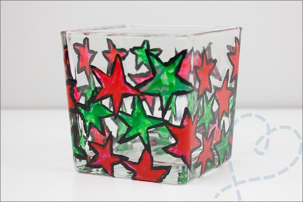 sterren verven met glasverf op glas last minute kerstcadeau