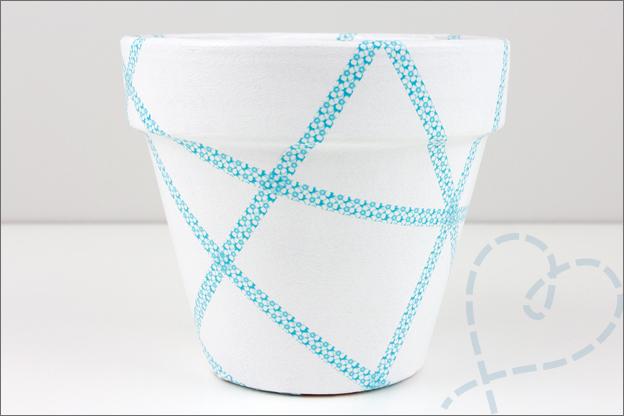 washi tape op bloempot afplakken verf