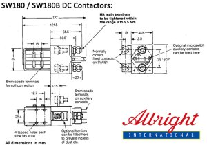 Albright 200A DC Contactor, Model: SW180 and SW180B, SPST