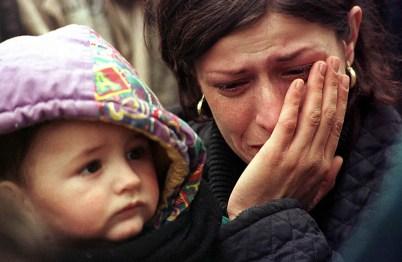 Kosovo-Macedonia border 31/3/99 kosovar refugees trying to cross the border through the mountains.
