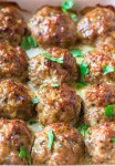 chicken meatballs with parsley garnish