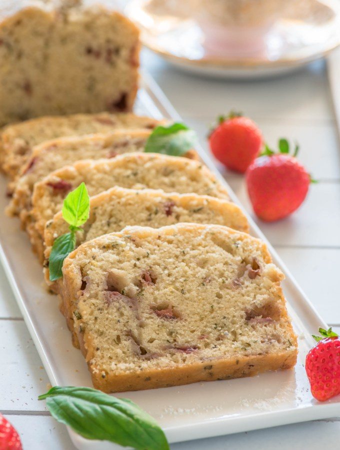 Strawberry Basil Loaf Cake