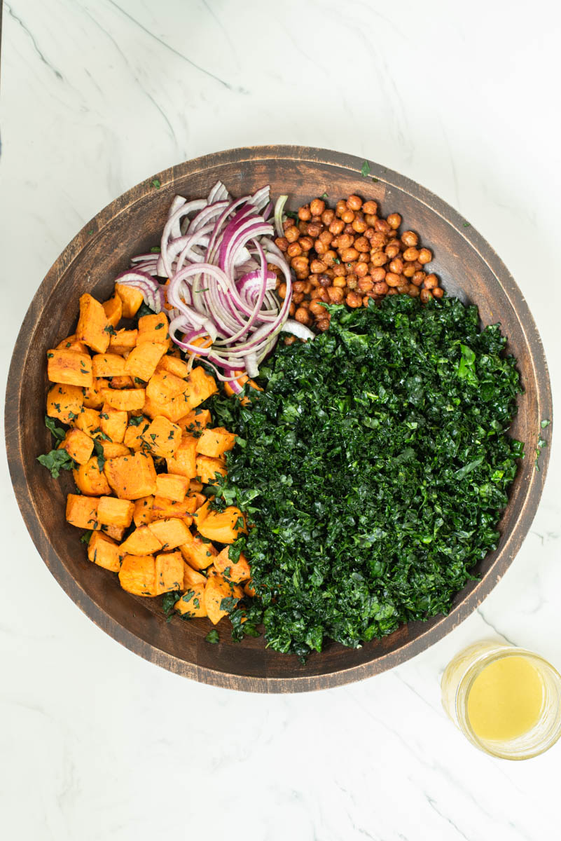 process shot of sweet potato kale salad