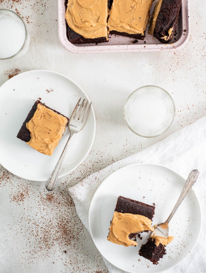 Chocolate Sheet Cake + Peanut Butter Frosting