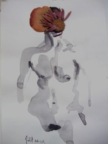 Flowerfolk, ink and dried flowers, 2011, 30 x 20cms