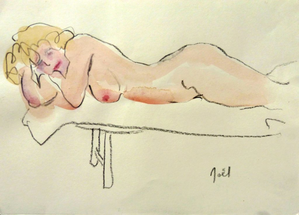 Model lying on a bench on her front -blond hair by Noël O´Callaghan, Watercolour and Graphite