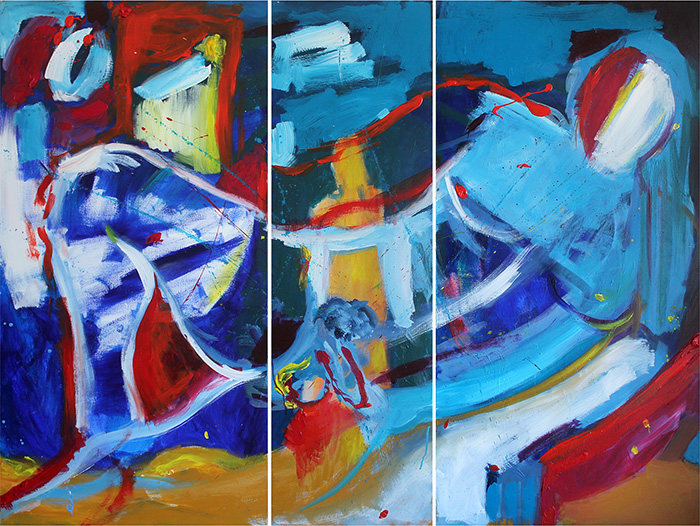 Noel Gazzano (2013) Poesia di Roca (Roca Poetry, tryptich). Acrylic on canvas, 120x150 cm