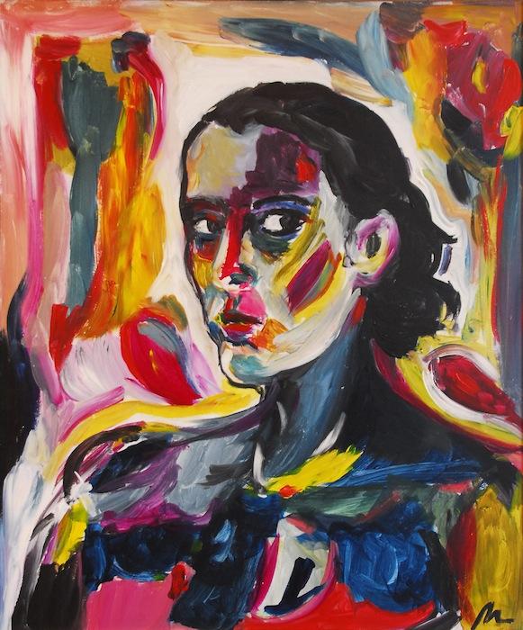 Noel Gazzano (2009) Autoritratto. Mixed media on board, 70x50 cm