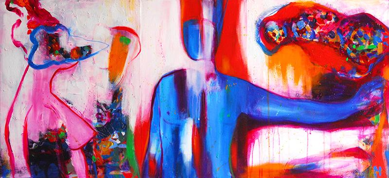 Noel Gazzano (2012) Carnevale (tripthyc). Acrylic on canvas, 50x110 cm