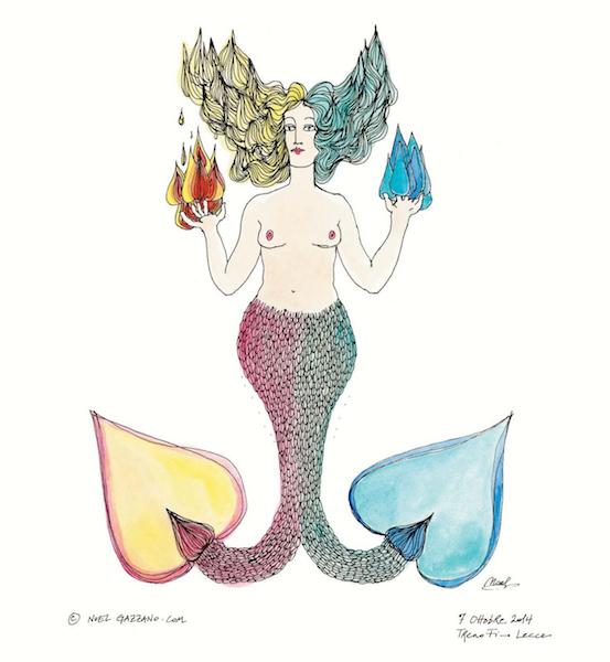Noel Gazzano (2014) Un Anno da Sirene - A Mermaid Year (February). Ink and watercolor on paper.