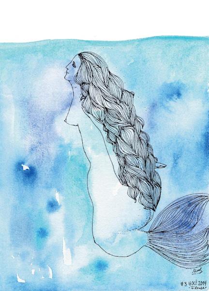 Noel Gazzano (2014) Un Anno da Sirene - A Mermaid Year (July). Ink and watercolor on paper.