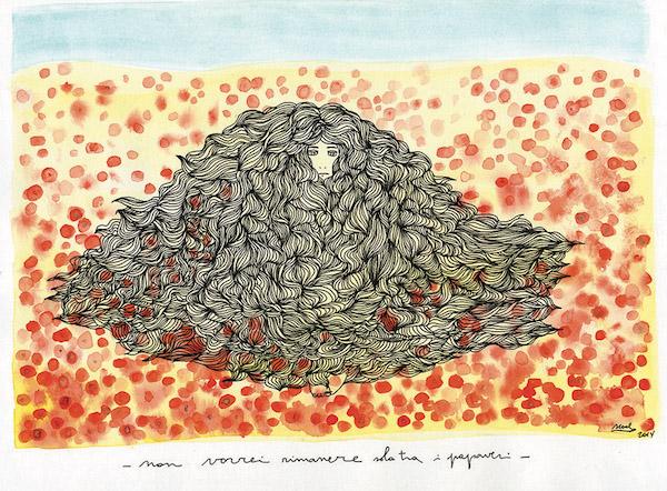 Noel Gazzano (2014) Non Vorrei Rimanere Sola tra i Papaveri (2014). China ed acquerello su carta, 25x35 cm