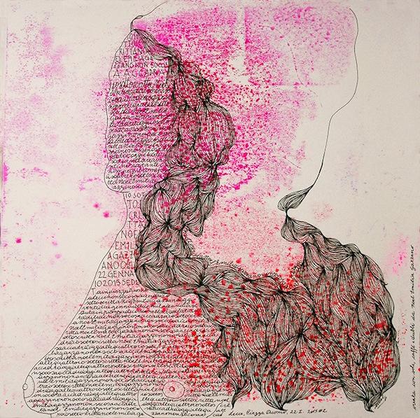 Noel Gazzano (2015) IoSottoscrittaNoelGazzanoNonSoCosaAccadrà. Tecnica mista su carta, 30x30cm