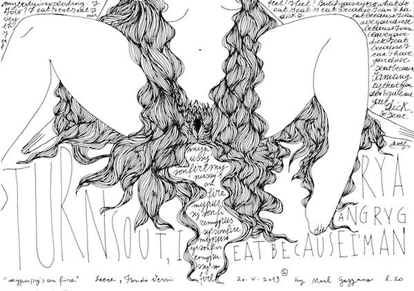 Noel Gazzano (2015) Arrabbiata (Angry). Ink on paper.