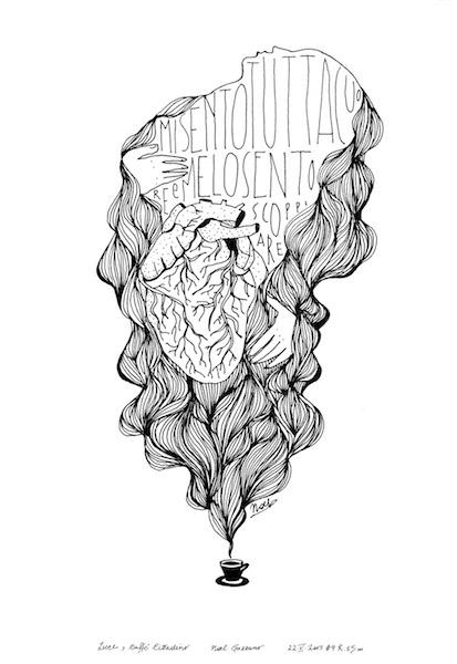 Noel Gazzano (2015) MiSentoTuttaCuoreEMeLoSentoScoppiare (I'MAllHeartAndIt'sExploding). Ink on paper.