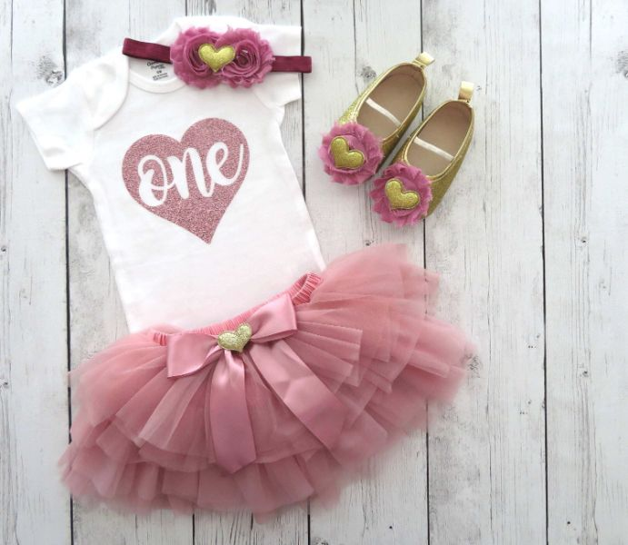 Dusty Rose First Birthday Outfit With Tutu Bloomers Rose G