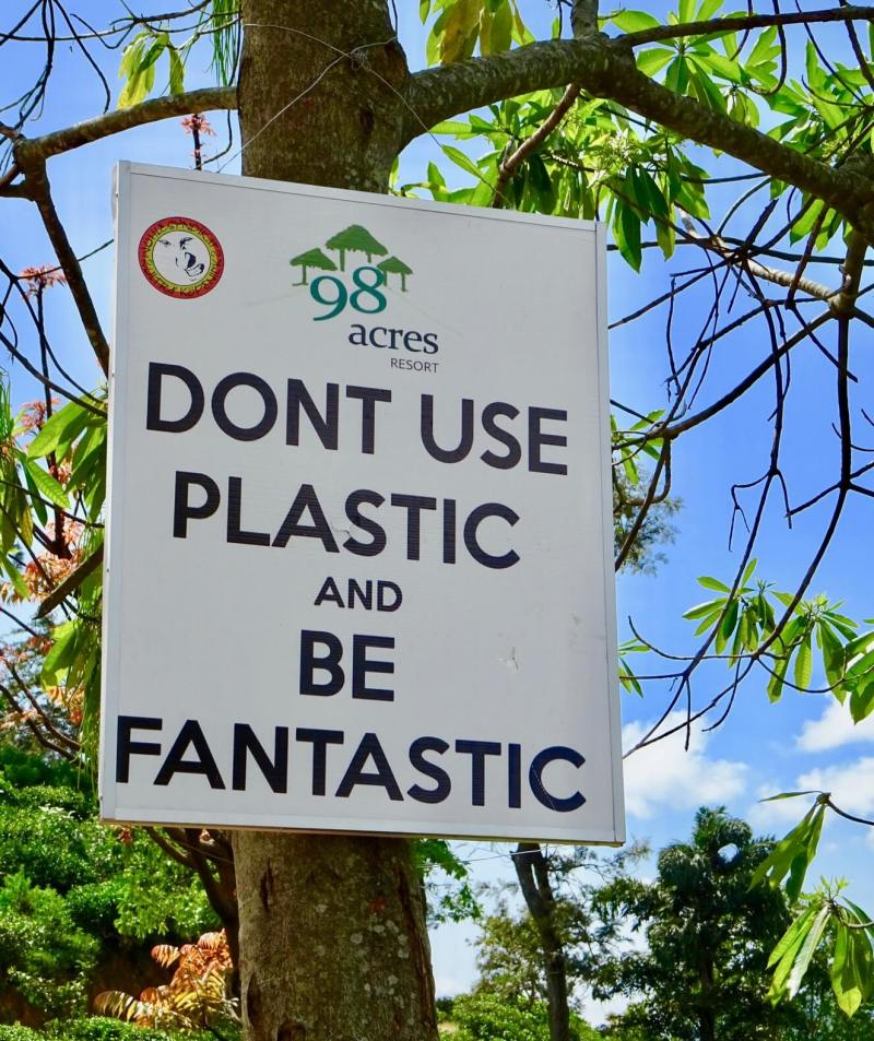 Don't Use Plastic sign smaller travel footprint