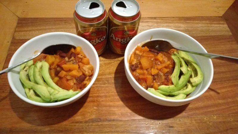 homemade chilli and Angkor beer
