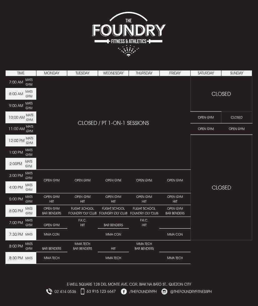 the foundry schedule
