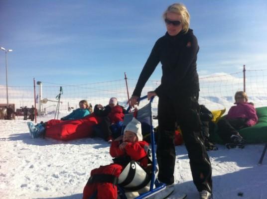 Ran skiing