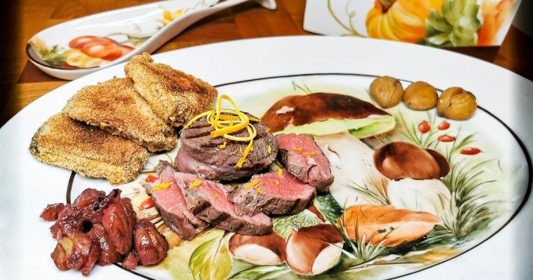 Filetto di Manzo Sous-Vide con Mazze di Tamburo e Castagne