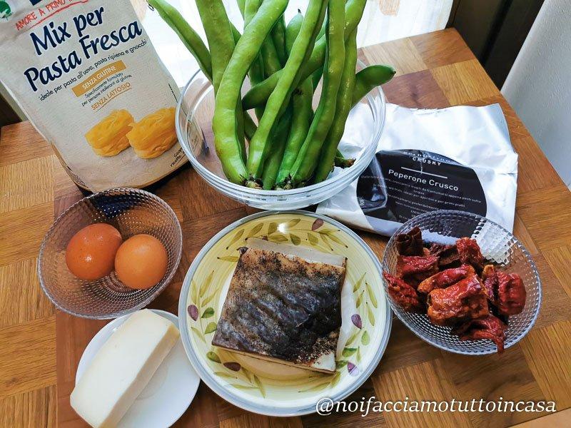 Tagliatele con fave e pancetta