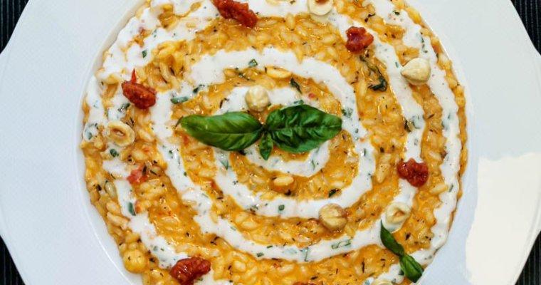 Risotto con Pesto di Pomodori Confit e Stracchino