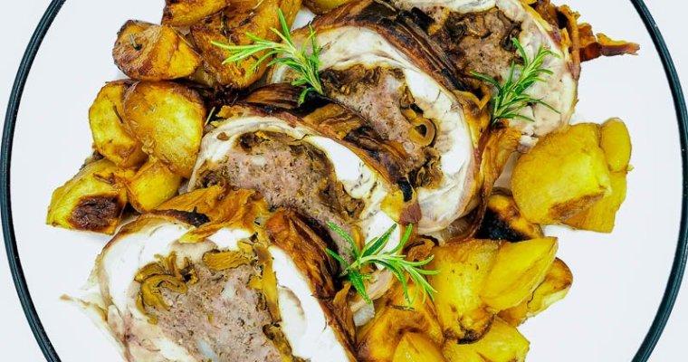 Coniglio Ripieno di Funghi e Salsiccia al Forno