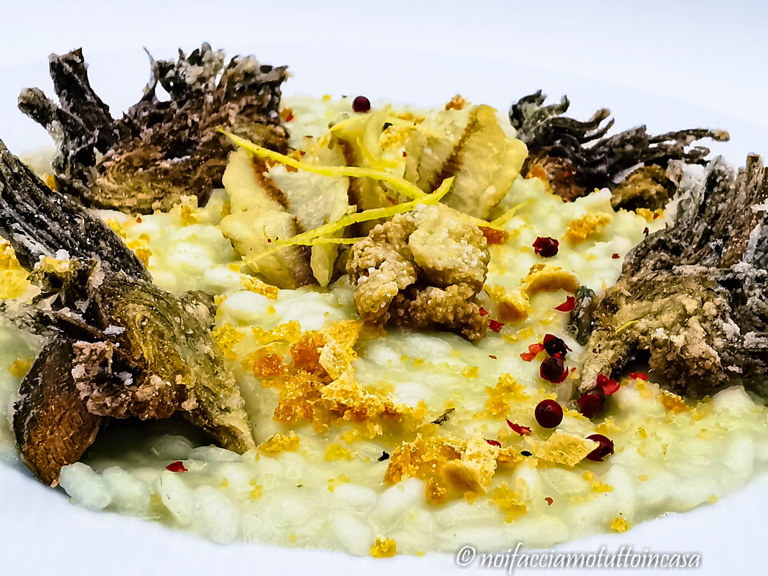 Risotto ai Carciofi con Pesce Persico e Bottarga – Gluten Free