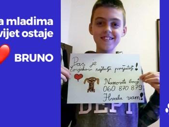 Bruno oglašava humanitarni telefon Noine arke