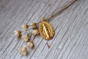 médaille miraculeuse ancienne de la vierge marie vintage - en OR 18 carats