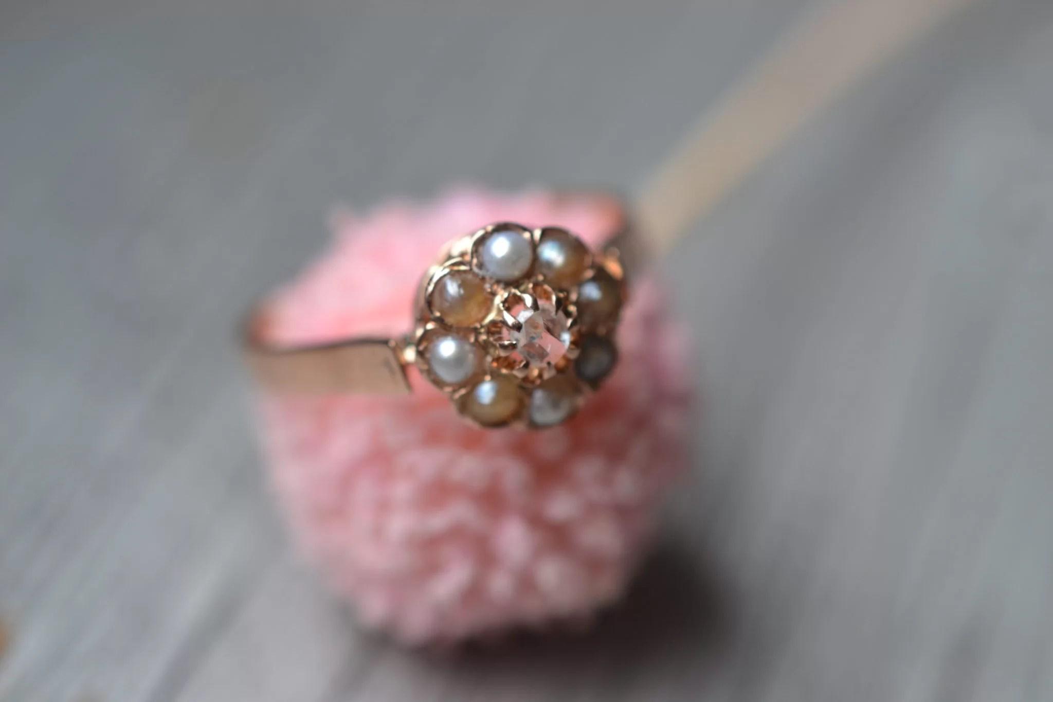 Bague Ancienne Perles Et Or 18 Carats - Bijou Vintage Mariage Fiançailles Éthique