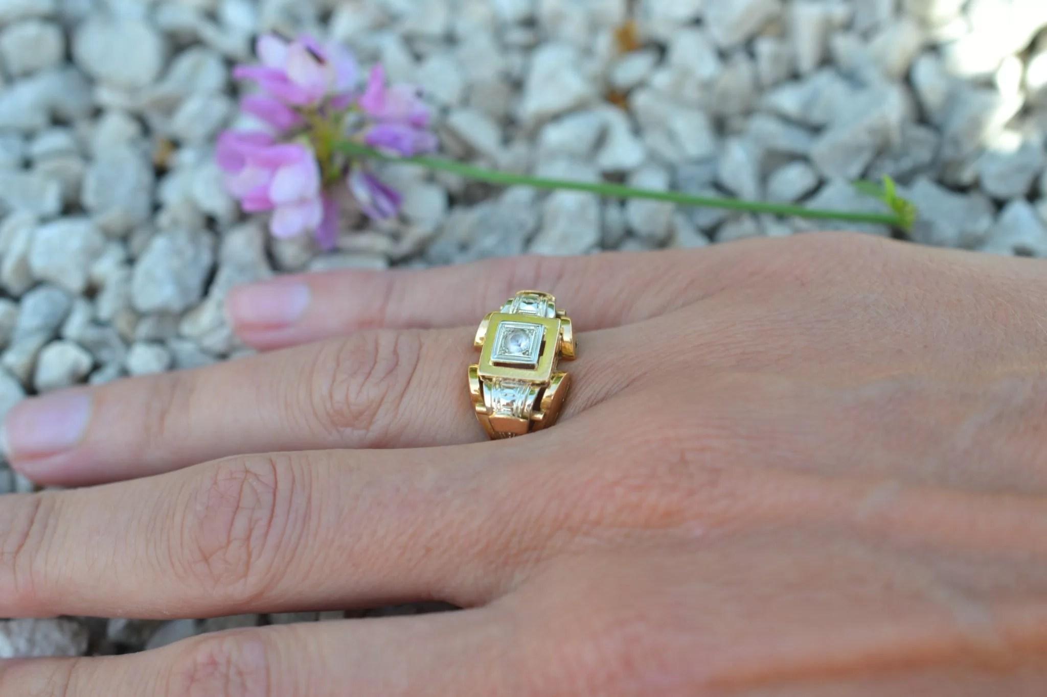 Bague Tank années 1950 - En Or jaune 18 carats - Bijoux anciens écoresponsables